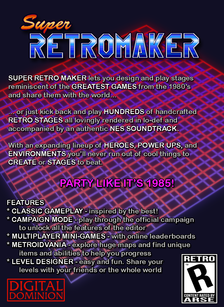 Super Retro Maker lets you design stages reminiscent of the greatest games from the 1980's and share them with 
